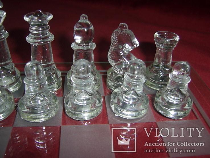 Комплект стеклянных шахмат со стеклянной доской  Англия в родной упаковке, фото №4