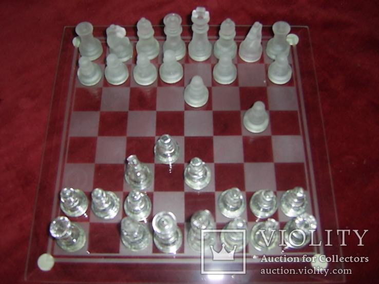 Комплект стеклянных шахмат со стеклянной доской  Англия в родной упаковке, фото №13