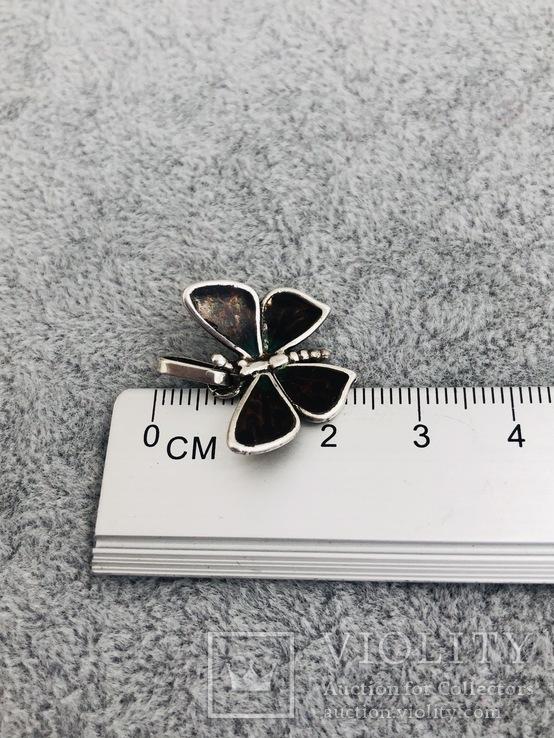 Серебряная подвеска Бабочка в эмалях (серебро 925 пр, вес 3 гр), фото №3