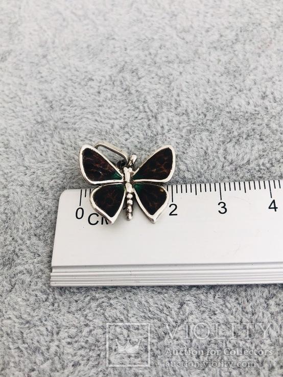 Серебряная подвеска Бабочка в эмалях (серебро 925 пр, вес 3 гр), фото №4