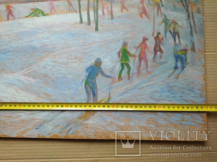 """""""На лыжне"""" к.м.  50х70 см.,1971 г.    Михаил Кошель, фото №8"""