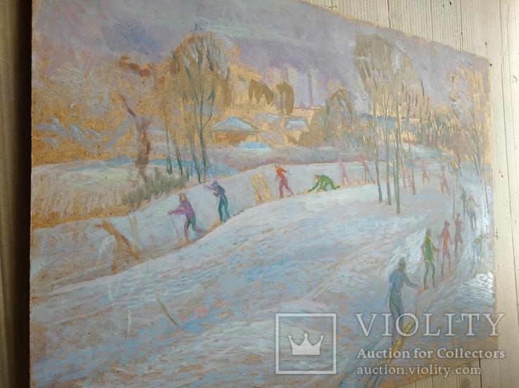 """""""На лыжне"""" к.м.  50х70 см.,1971 г.    Михаил Кошель, фото №9"""