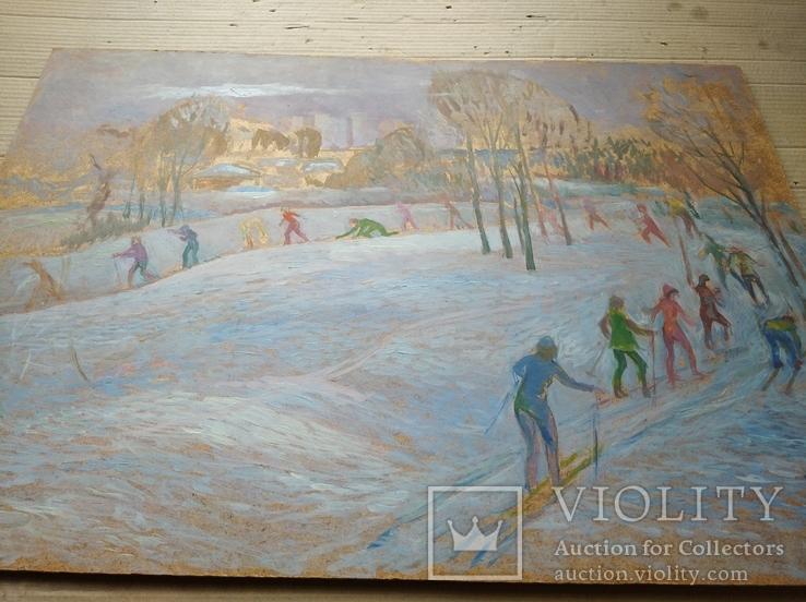 """""""На лыжне"""" к.м.  50х70 см.,1971 г.    Михаил Кошель, фото №10"""