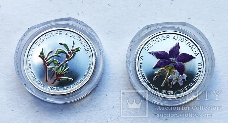 Набор монет цветы Австралии 5 шт, платина. 1/10 oz, фото №4