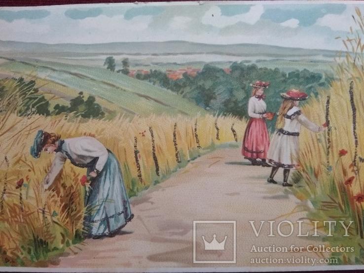 Старинная рисованная открытка, фото №3
