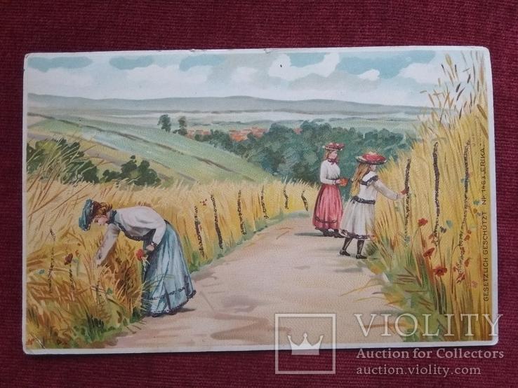 Старинная рисованная открытка, фото №2