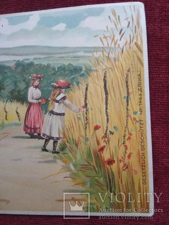 Старинная рисованная открытка, фото №4
