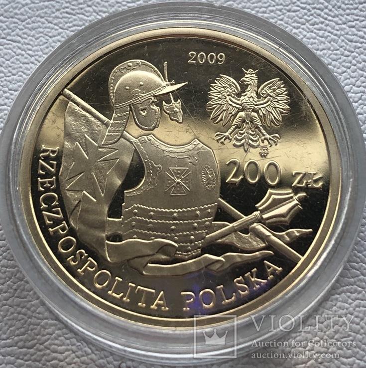200 злотых 2009 год Польша золото 15,50 грамм 900', фото №3