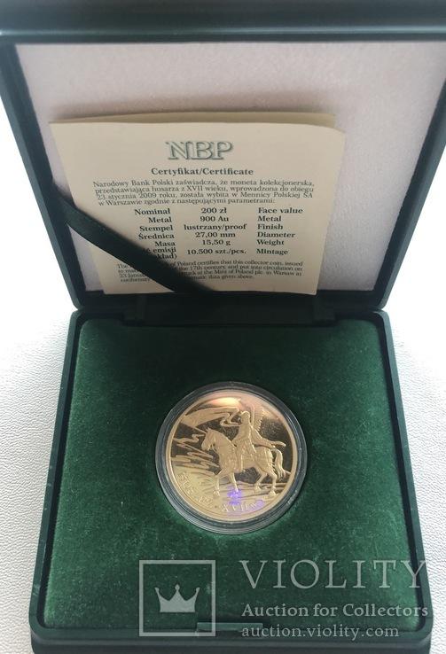 200 злотых 2009 год Польша золото 15,50 грамм 900', фото №5