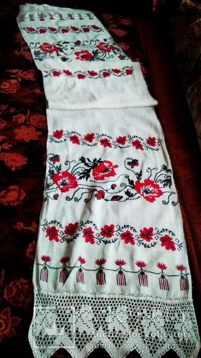 Старинный полотняный вышитый рушник, фото №3