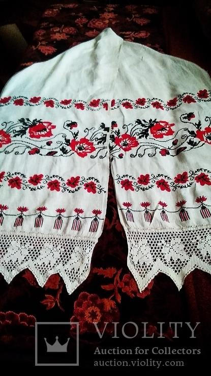 Старинный полотняный вышитый рушник, фото №4