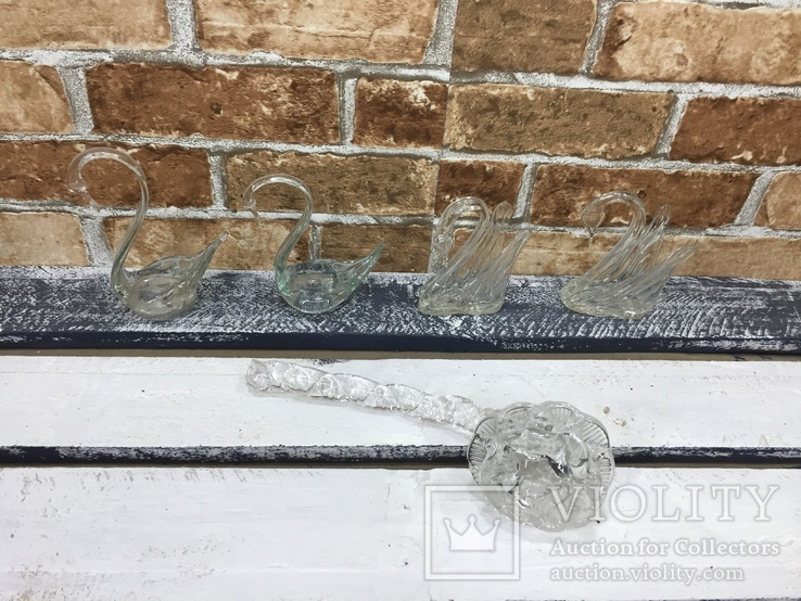 Стекляные Лебеди - 4 шт + Роза, фото №5