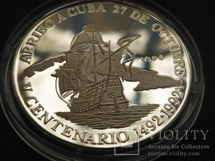 Куба 1990 10 песо Корабль парусник серебро, фото №2