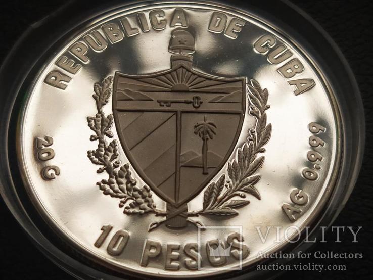 Куба 1990 10 песо Корабль парусник серебро, фото №3