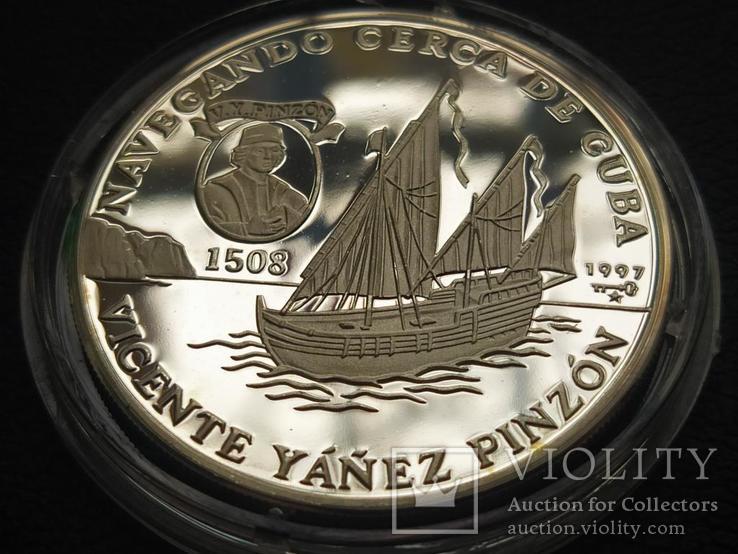 Куба 1997 10 песо Корабль парусник серебро, фото №2