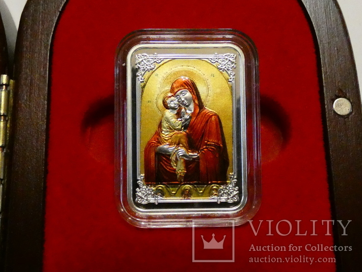Почаевская Икона Божией Матери - серебро, позолота, кристаллы Сваровски, фото №2