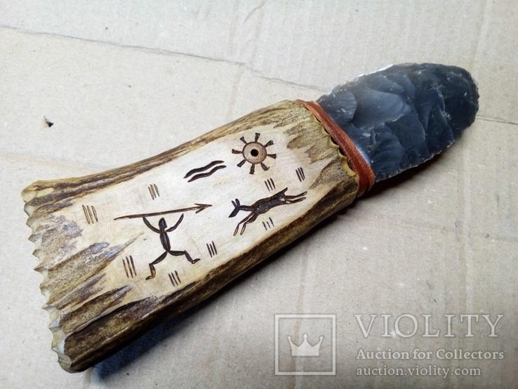 Ніж камяного віку.Ручка з рогу., фото №5