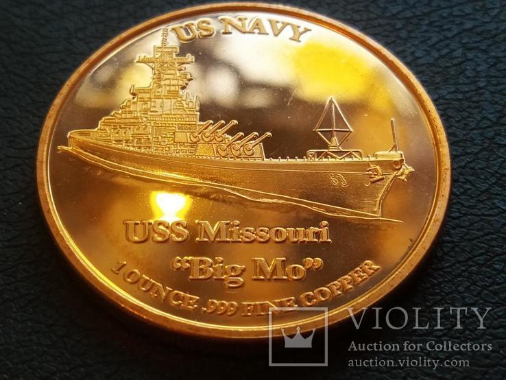 Линкор USS Missouri Корабль США Монетовидный жетон Медь 999 Унция, фото №2