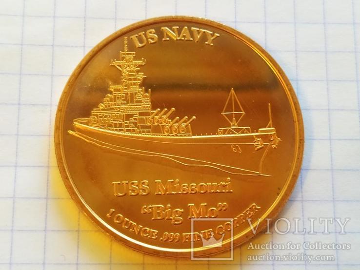 Линкор USS Missouri Корабль США Монетовидный жетон Медь 999 Унция, фото №4