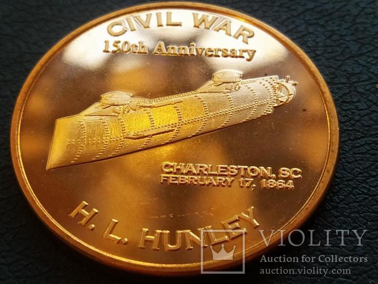 Первая подводная лодка H. L. Hunley Корабль Парусник США Монетовидный жетон Медь 999, фото №2
