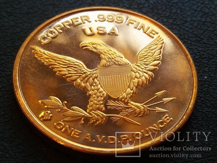Constitution Фрегат Корабль Парусник США Монетовидный жетон Медь 999, фото №3