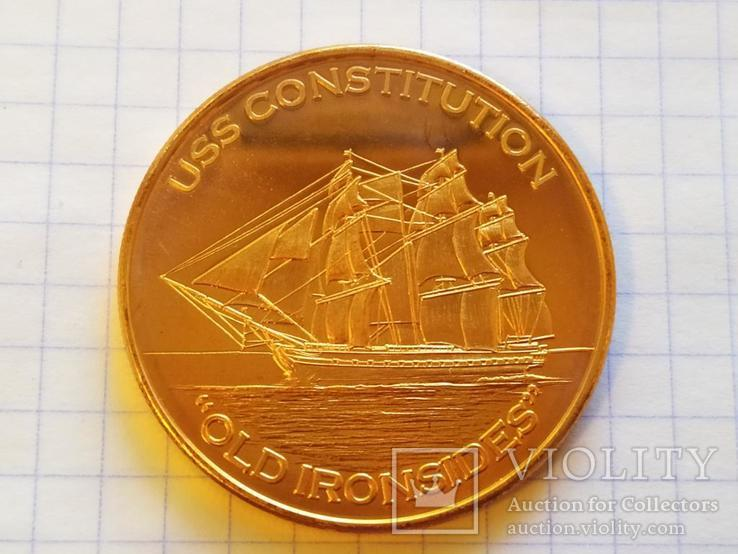 Constitution Фрегат Корабль Парусник США Монетовидный жетон Медь 999, фото №4