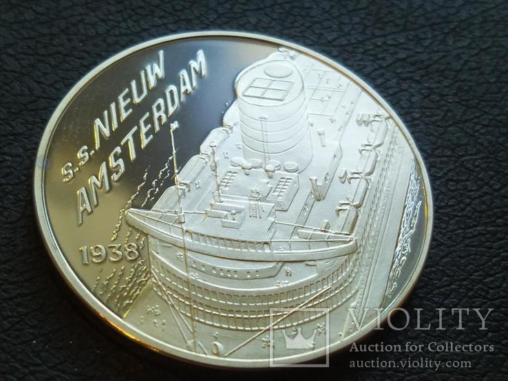 Новый Амстердам Корабль 1938 монетовидный жетон 125 лет Holland America Line 1998, фото №2