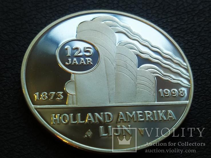 Новый Амстердам Корабль 1938 монетовидный жетон 125 лет Holland America Line 1998, фото №3