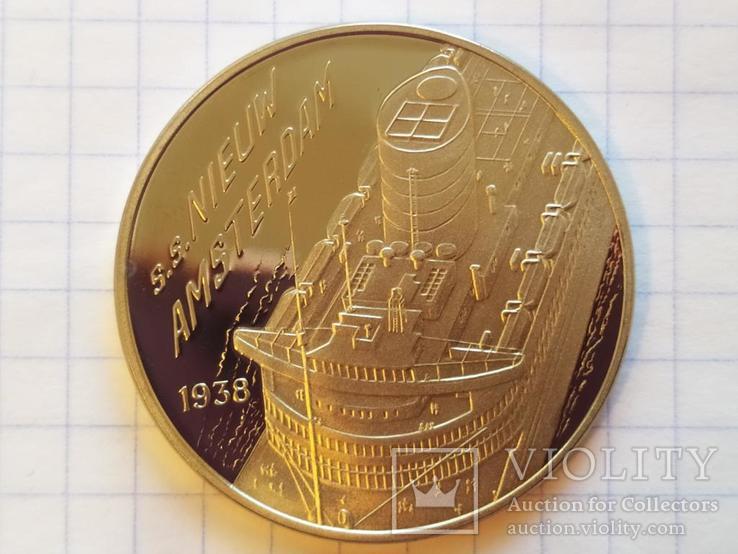 Новый Амстердам Корабль 1938 монетовидный жетон 125 лет Holland America Line 1998, фото №4