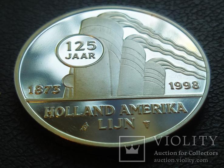 Вииндам II 1923 Корабль монетовидный жетон 125 лет Holland America Line 1998, фото №3