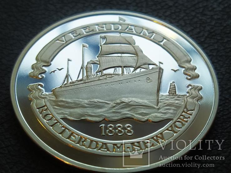 Вииндам I 1888 Корабль монетовидный жетон 125 лет Holland America Line 1998, фото №2
