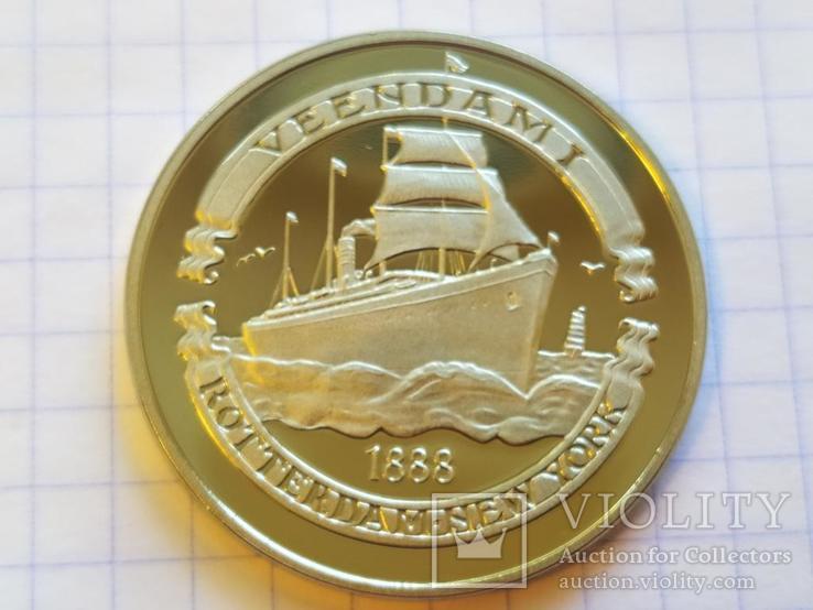 Вииндам I 1888 Корабль монетовидный жетон 125 лет Holland America Line 1998, фото №4