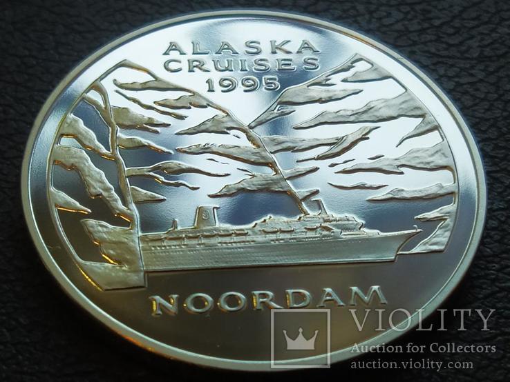Ноордам Аляска Корабль монетовидный жетон 125 лет Holland America Line 1998, фото №2