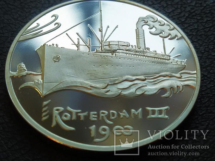 Роттердам III 1900 Корабль монетовидный жетон 125 лет Holland America Line 1998, фото №2