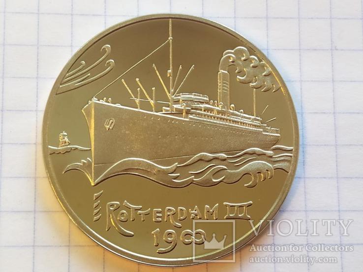 Роттердам III 1900 Корабль монетовидный жетон 125 лет Holland America Line 1998, фото №4