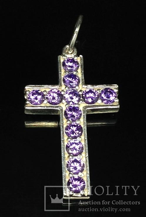 Крестик, фиолетовые камни, фото №2