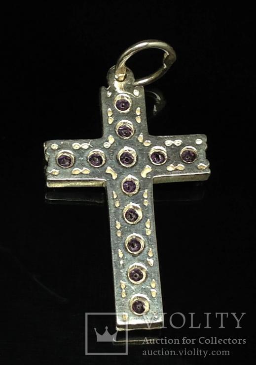 Крестик, фиолетовые камни, фото №3