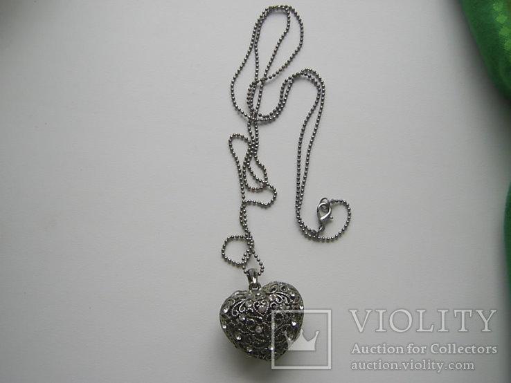 Кулон в виде сердца на цепочке Европа, фото №3