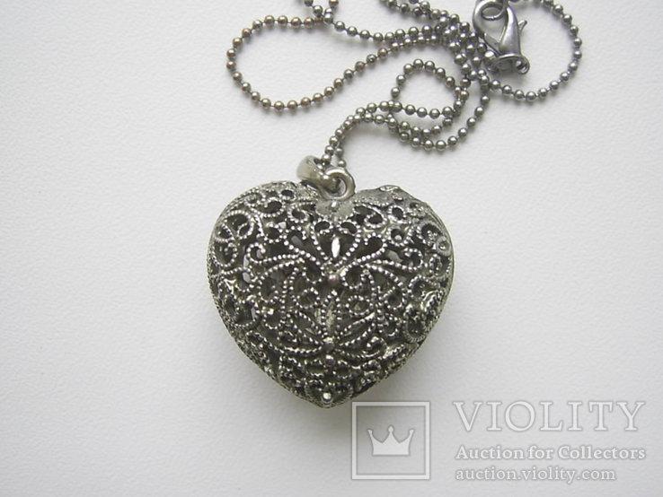 Кулон в виде сердца на цепочке Европа, фото №6