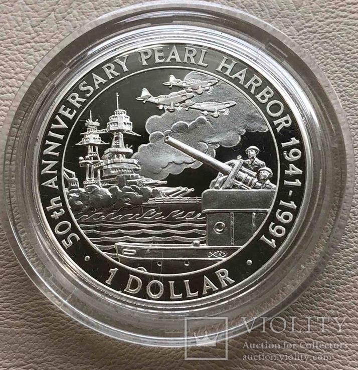 Соломоновы острова 1 $ 1991 года серебро Пёрл Харбор, фото №2