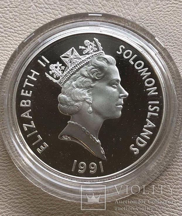 Соломоновы острова 1 $ 1991 года серебро Пёрл Харбор, фото №3