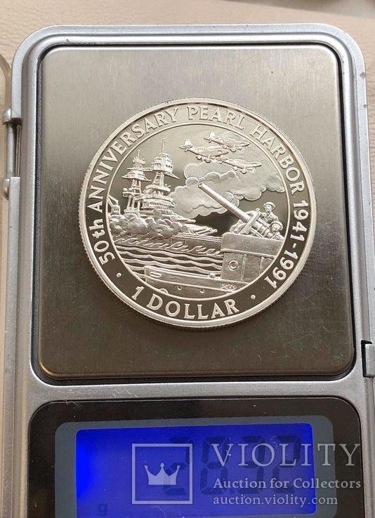Соломоновы острова 1 $ 1991 года серебро Пёрл Харбор, фото №4