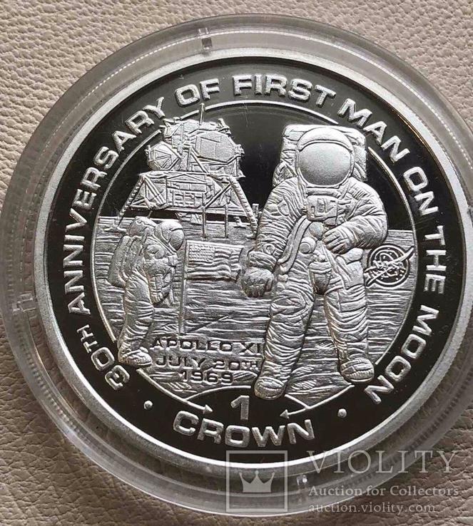 Остров Мэн 1 крона 1999 год Человек на Луне