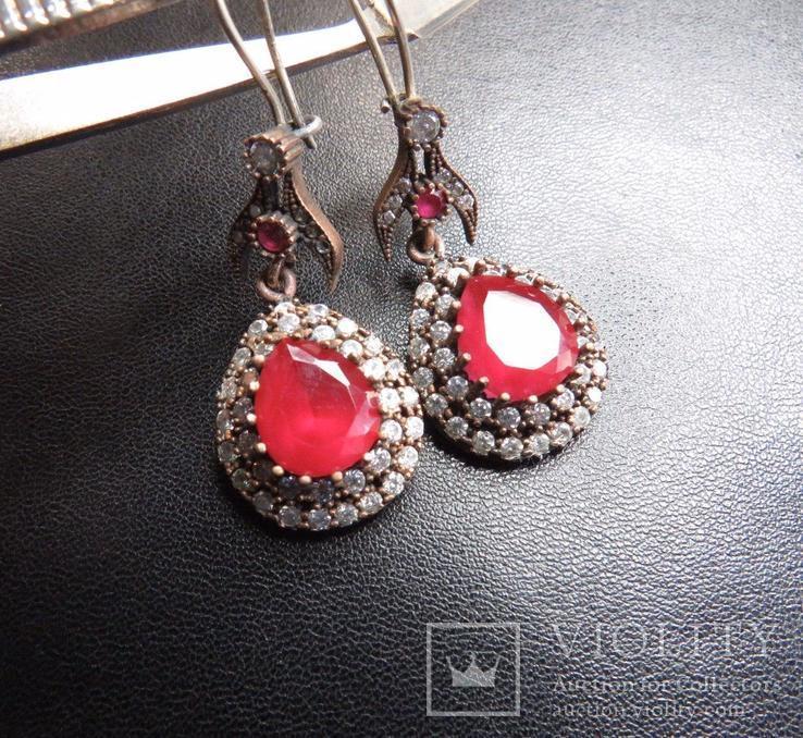 Серьги с камнями капля серебро, фото №3