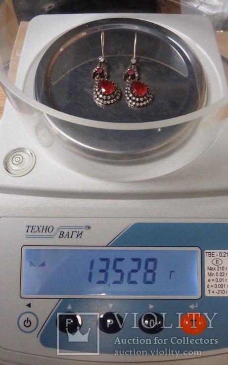 Серьги с камнями капля серебро, фото №7