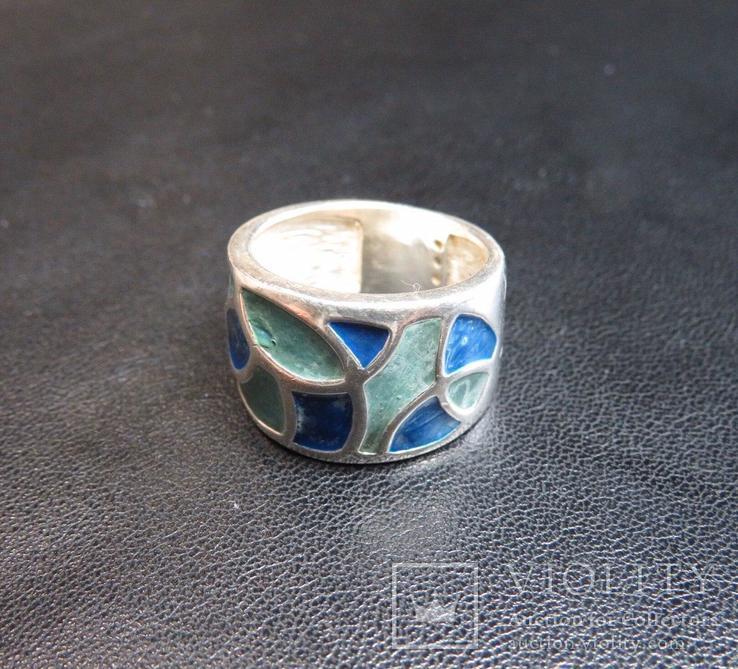 Кольцо с эмалями 17,5 размер серебро, фото №3