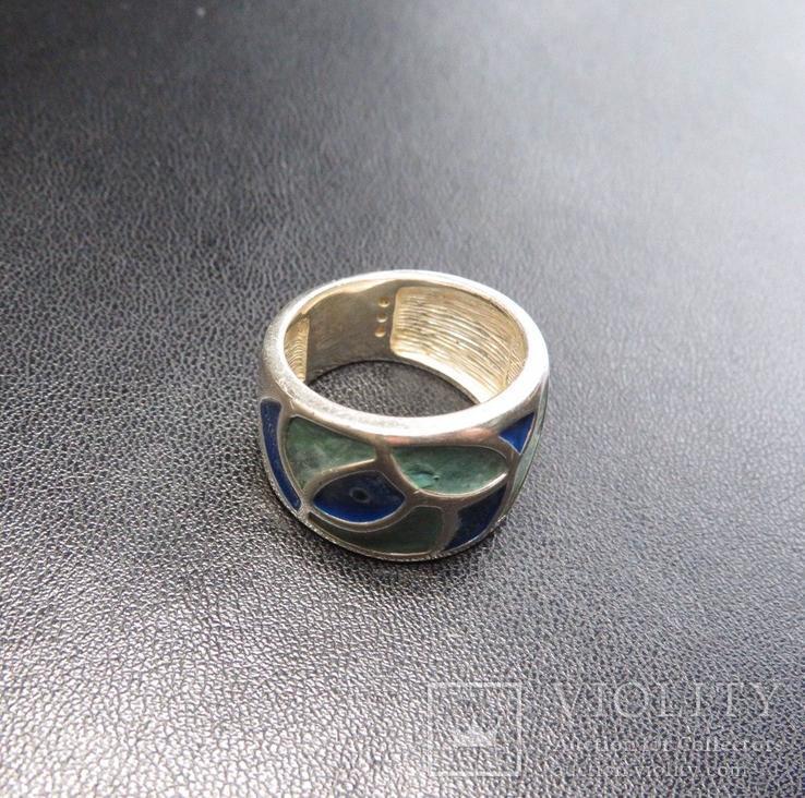 Кольцо с эмалями 17,5 размер серебро, фото №4