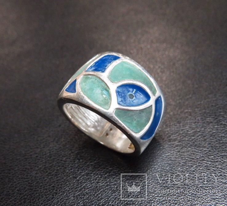 Кольцо с эмалями 17,5 размер серебро, фото №2