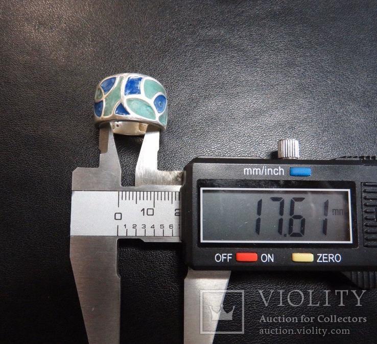 Кольцо с эмалями 17,5 размер серебро, фото №9