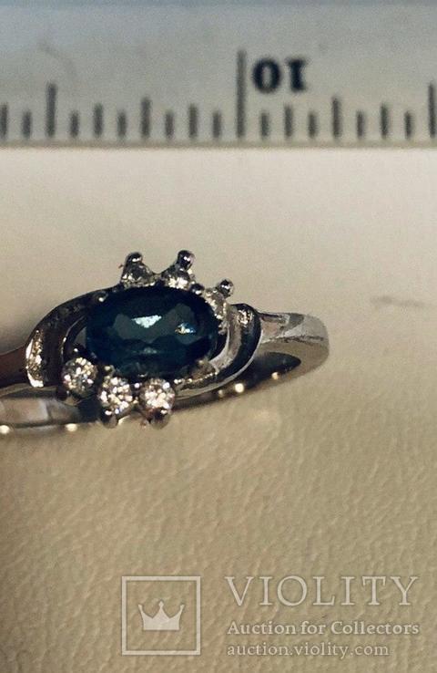 Кольцо с голубым камнем 925`, фото №2